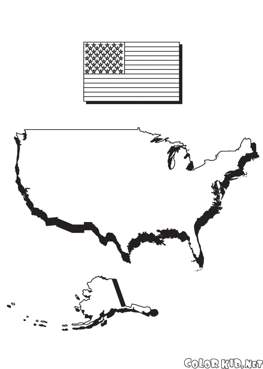 美國地圖和國旗的