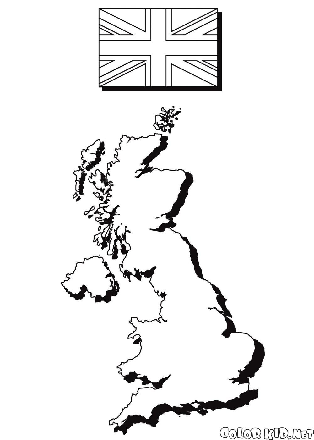 地圖和英國國旗